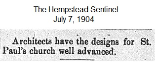 Hempstead Sentinel - Architects design new church - July 7, 1904