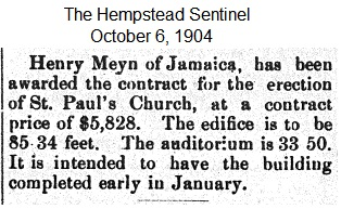 Hempstead Sentinel - Church contract awarded - October 6, 1904