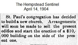 Hempstead Sentinel - New Church - April 14, 1904.