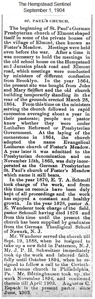 Hempstead Sentinel - Corner stone laid on new church - Sept. 1, 1904