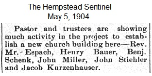 Hempstead Sentinel - Much activity in church project - May 5, 1904