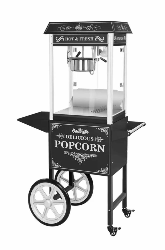 XXL Popcornmaschiene im Retro Look mit fahrbaren Wagen