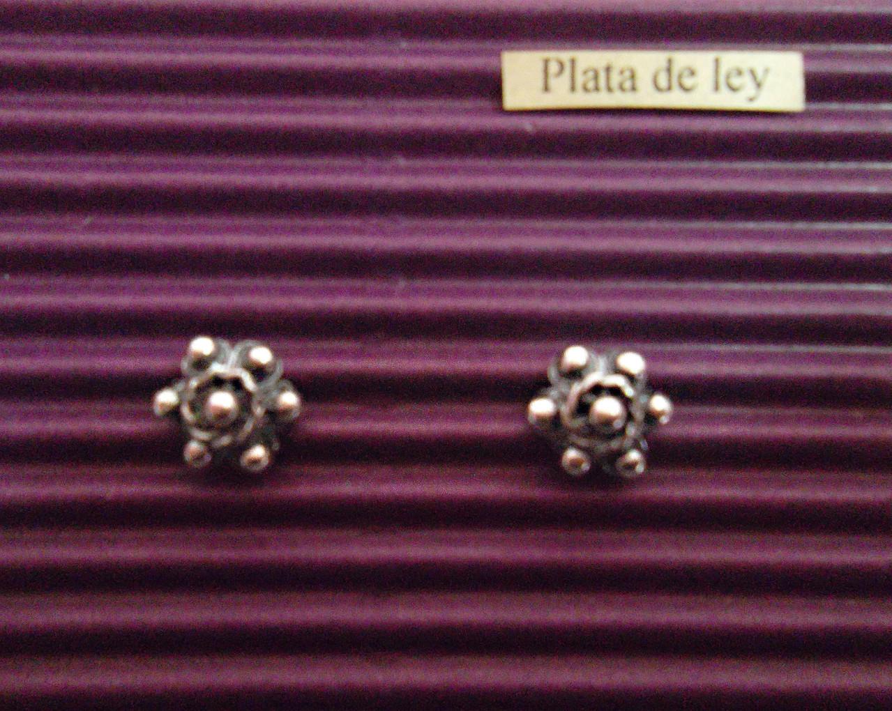 Pendientes Plata para boda con Botón Charro 1,00cm/diámetro