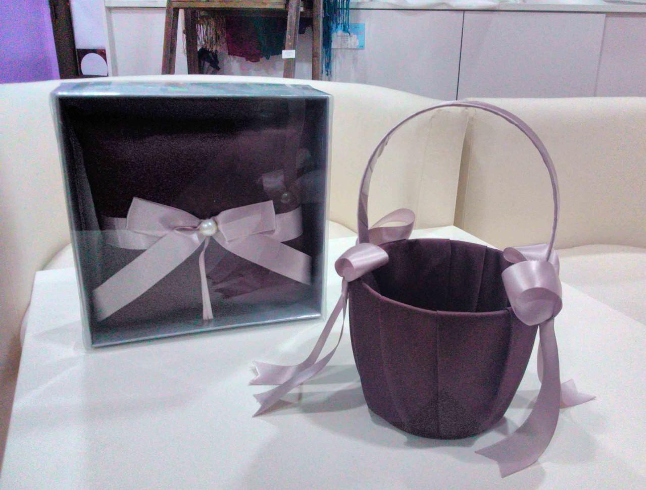conjunto cesta y cojín marrón chocolate