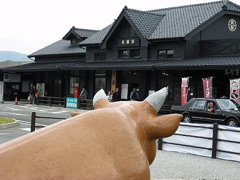 赤牛と阿蘇の駅