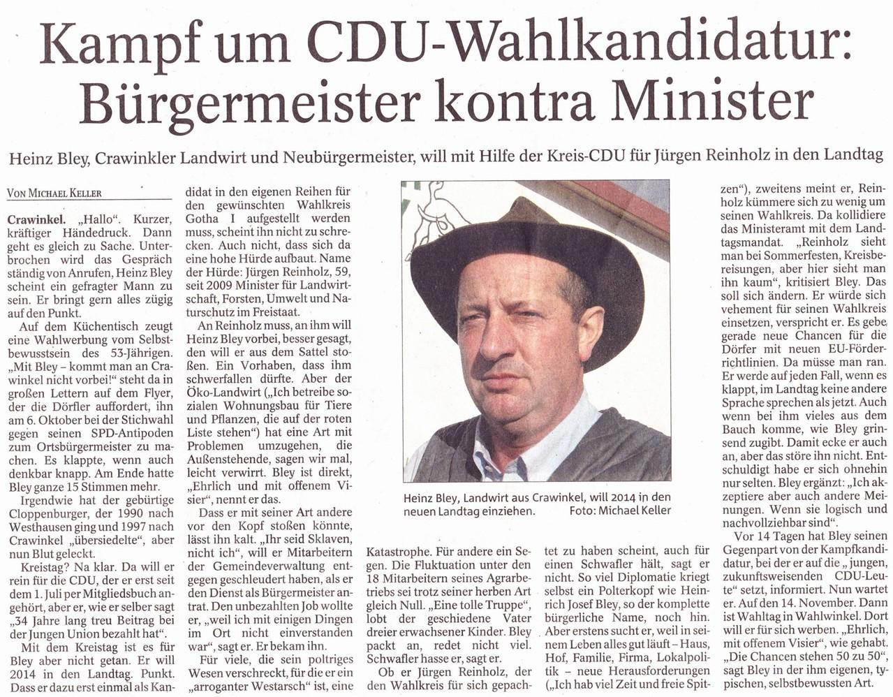 Heinz Bley will sich für die Landtagswahlkandidatur nominieren lassen. Leider wird er am 18.11.2013 nicht durch die Mitglieder der CDU gewählt. (Bild: TA)
