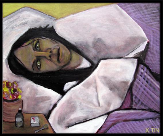 La malade, acrylique, 46x55cm, 2013