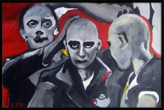 """""""Dépersonnalisation"""", acrylique sur toile, 2012, 27x41cm"""