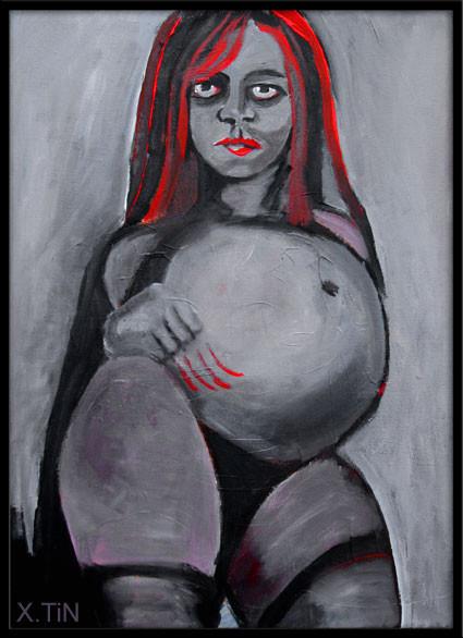 Parturiente grise, acrylique sur toile (46x33cm)