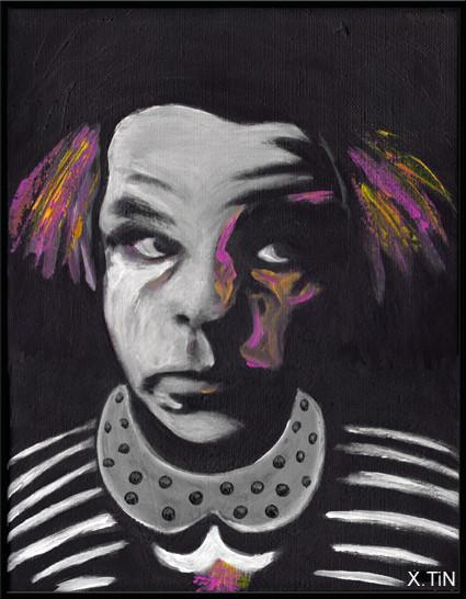 Le clown est un homme (Denis lavant, acrylique sur toile, 35x27cm,nov 2014)