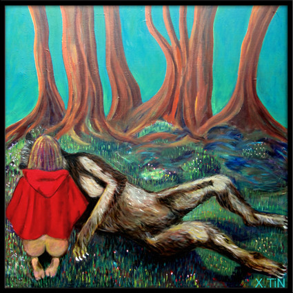 Un amour de loup, acrylique sur toile (80x80cm, 2014)