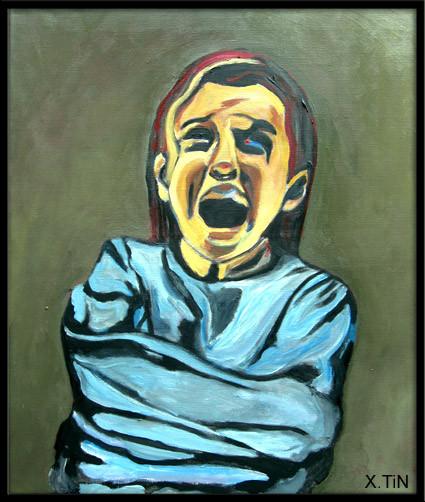 enfance fichée fichue, acrylique sur toile 55x46cm
