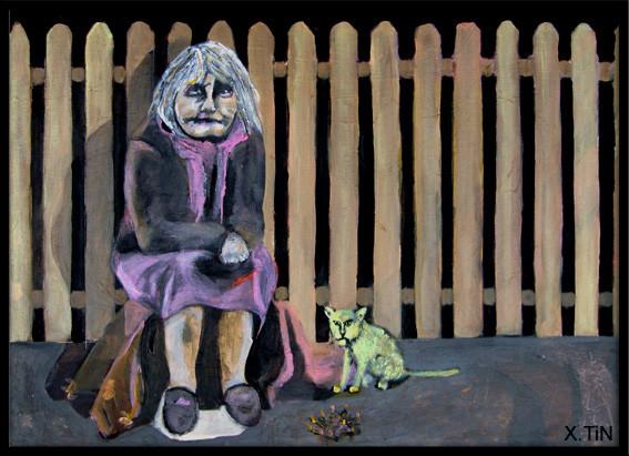 La vieille et le chat au coin du feu, derrière la barrière, près de chez toi, pas loin du périph, tu vois où? acrylique s/toile 2012 46x33cm