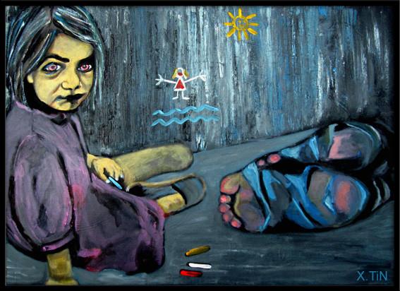 Enfant de la cloche, sur le trottoir, près du parking du supermarché. acrylique s/toile, 2012, 46x33cm