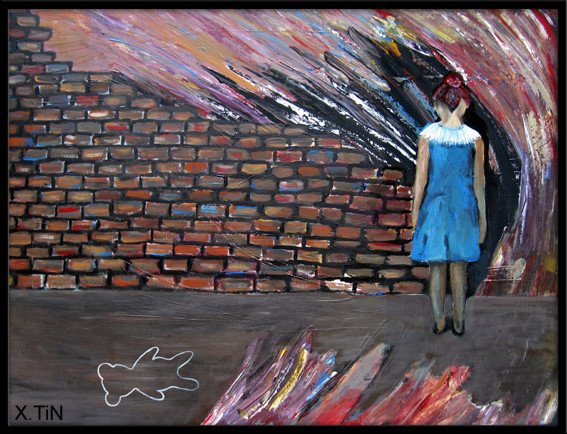 Le mur, acrylique sur toile, 46x61cm 2014