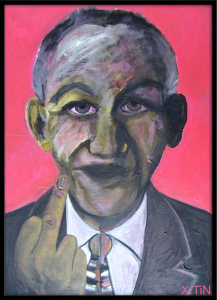 """""""le doigt"""" (série des vieux facétieux), acrylique s/toile, 65x46, juin 2013"""