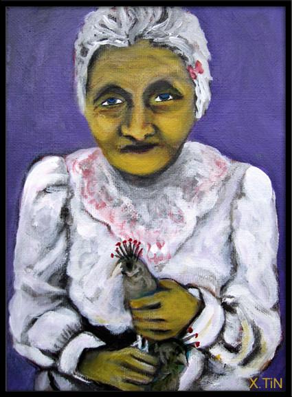 Petite vieille aux oiseaux, acrylique sur toile, 22x16cm, 2014