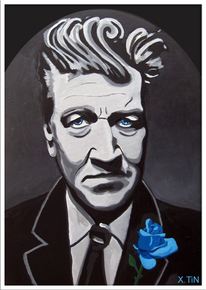 """Blue Spirit"", portrait de David Lynch avec rose bleue, (55 x 38cm)"