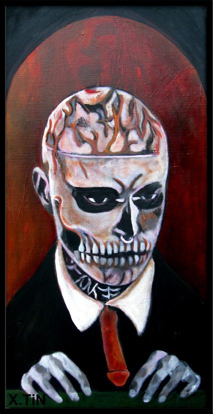 Lonely Zombie Boy (portrait de Rick Genest, acrylique sur toile 60x30cm))