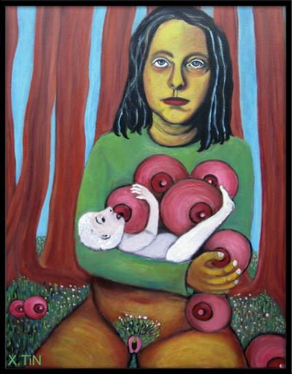 Anne et la forêt généreuse, acrylique sur toile 65x50cm, 2014