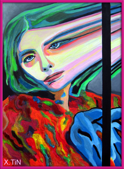 """""""L"""", acryliques fluos, 46cx33cm, 2011"""