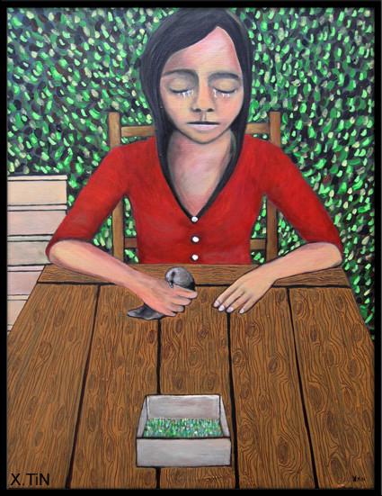 """""""Les boîtes à pioupious"""", acrylique sur toile 80x60, 2014"""