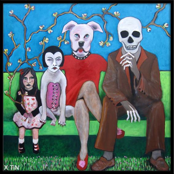 """""""papa, maman, le chat et moi"""" acrylique sur toile (80x80cm) 2014"""