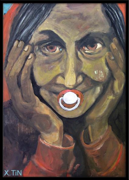 """""""la tétine"""" (série des vieux facétieux), acrylique s/toile, 65x46, juin 2013"""