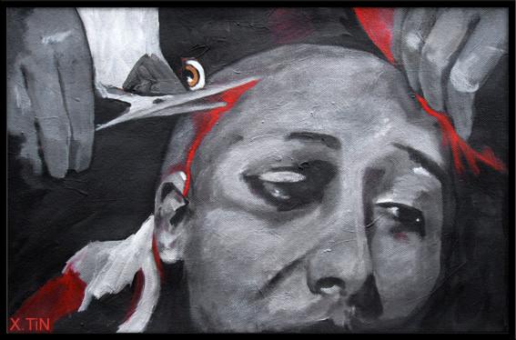 """""""Décervelisation"""", acrylique sur toile, 2012, 27x41cm"""