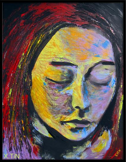 Elle s'est tue/elle s'est tuée(acrylique sur toile, 35x27cm)