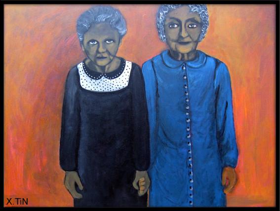 """""""Les vieilles copines"""", acrylique 46x61cm, 2013"""