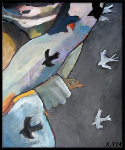 Migration n°2 (55x46cm), diptyque des oiseaux