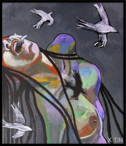 Migration n°1 (55x46cm), diptyque des oiseaux