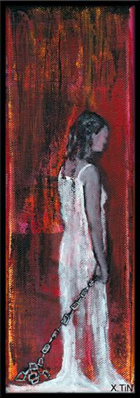 La 2ème petite morose s'était détachée de toi, elle avait gardé sa chaîne à la main en souvenir, et pour ne pas la laisser vide. acrylique s/toile,30x10cm-2013