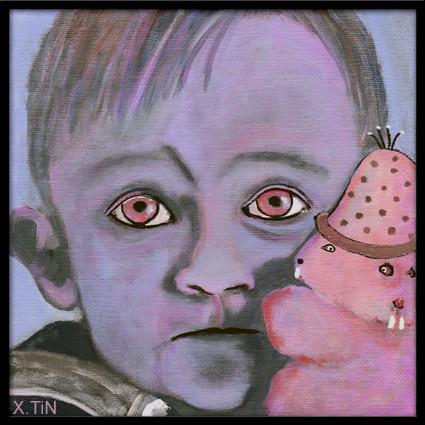 bébé bleuté et doudou rose à deux têtes (20x20cm)