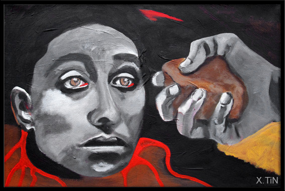 """""""Lapidation"""", acrylique sur toile, 2012, 27x41cm"""