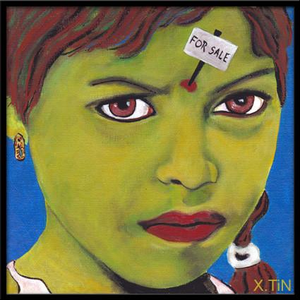 """""""petite fille verte à vendre, sur fond de bleu azur"""" (20x20cm)"""