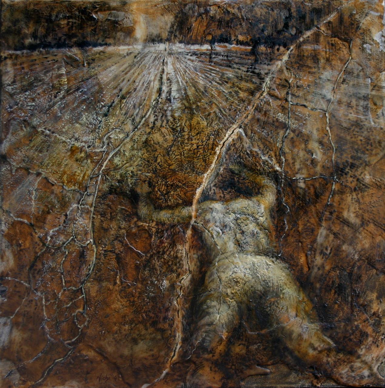 NO MAN'S LAND- Terra di nessuno.  2014,  50x50, tecnica mista su tela.