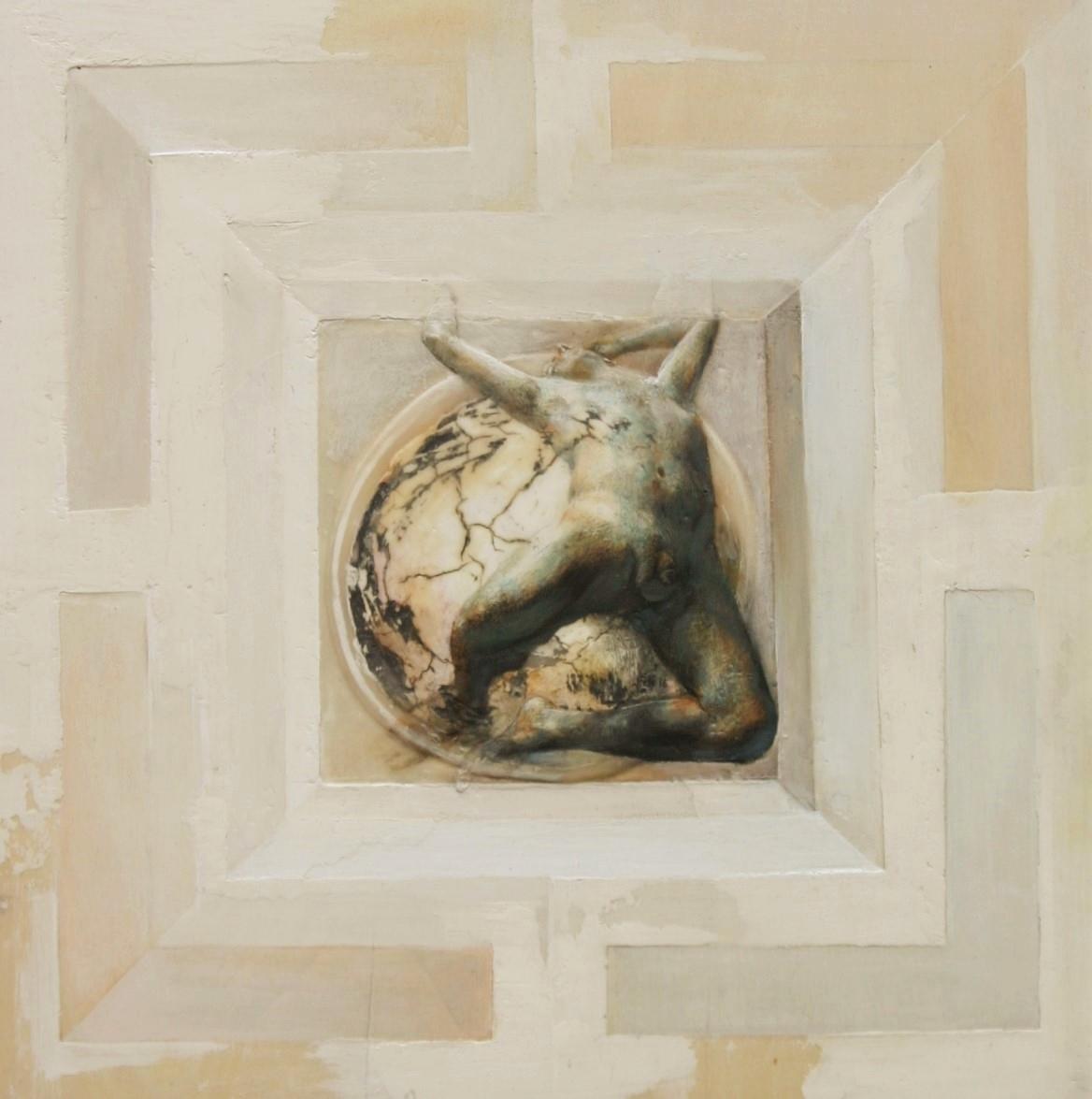 Doppia Lettura -  2016 , 50x50 olio su tavola.