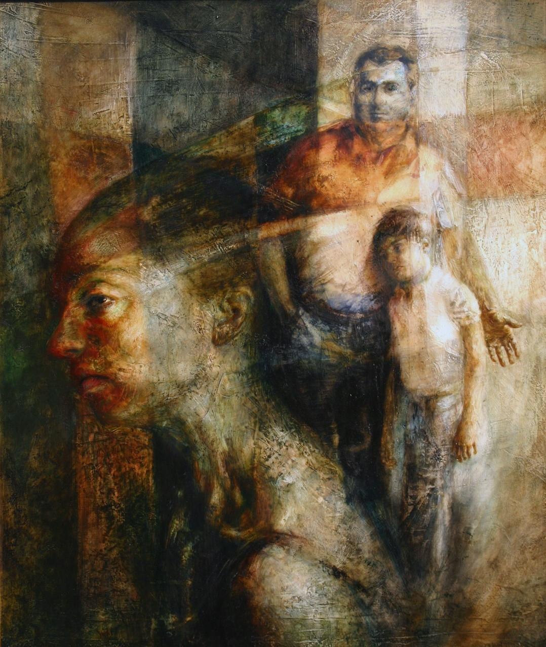 ESSERE PADRE, 2008. 70x60, olio su tela.