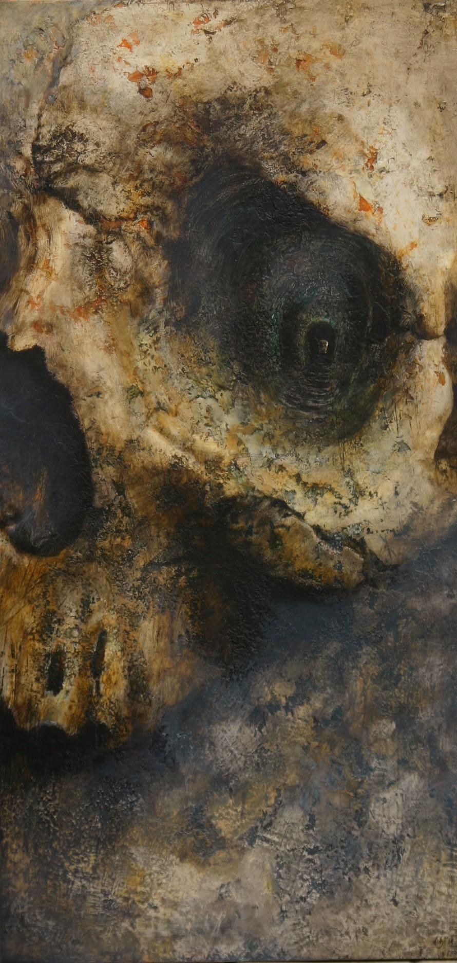 Et in Arcadia ego - Listen to the Death.  2014,  120x60, olio su tavola.