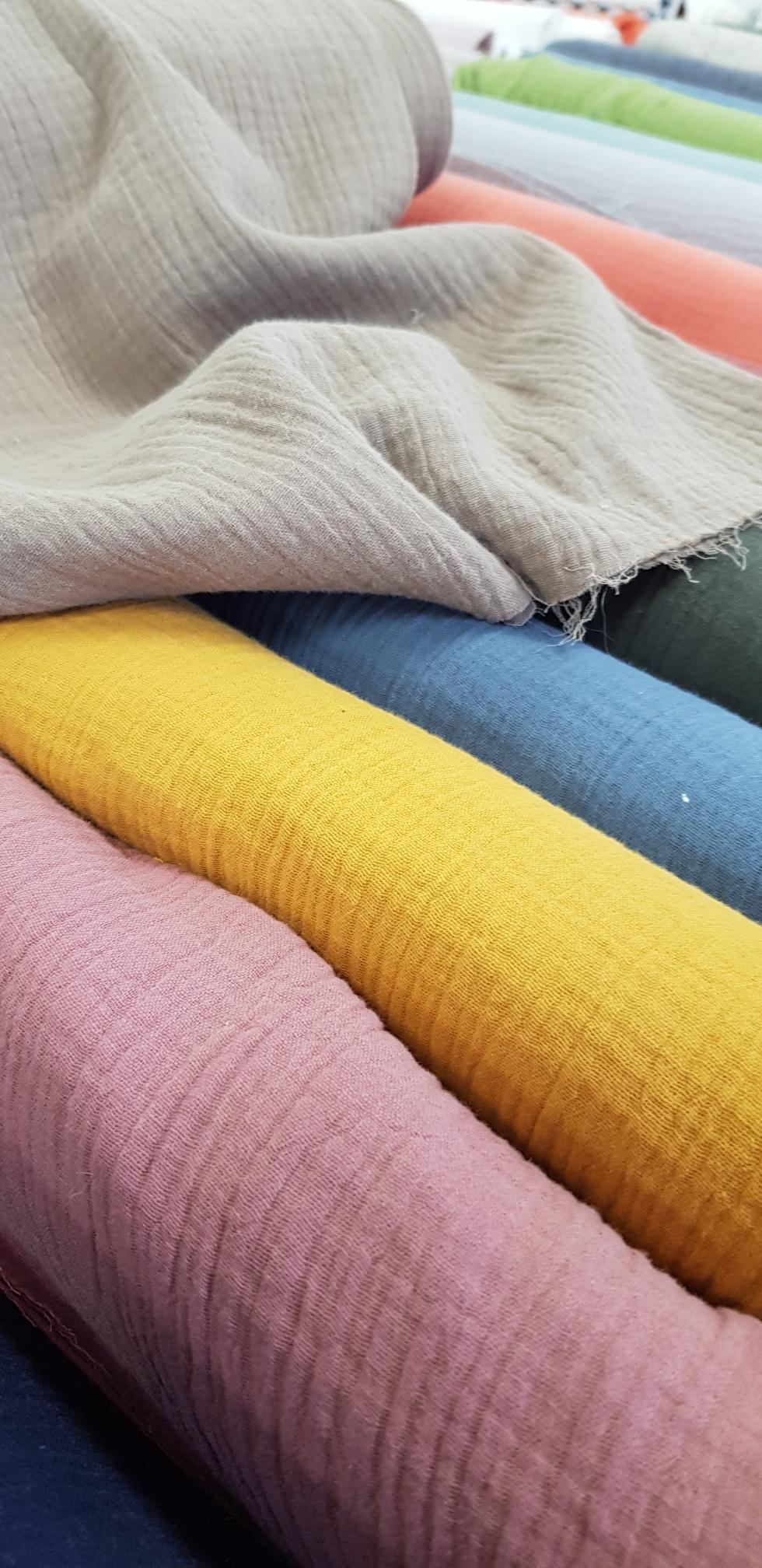 Tissu double gaze coton 130 grammes mètre carré en 140 cm