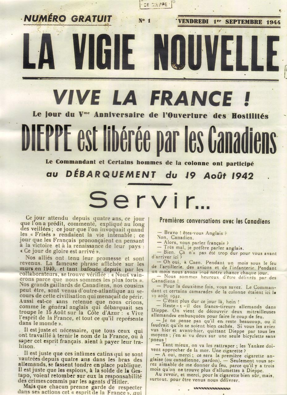 """Fac similé du journal """" la vigie nouvelle"""" datée du 1er septembre 1944"""