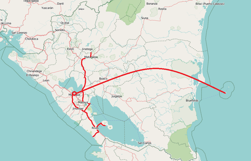Unsere Reiseroute in Nicaragua