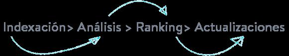 Las 4 fases en el SEO: indexación, análisis, ranking y actualizaciones.