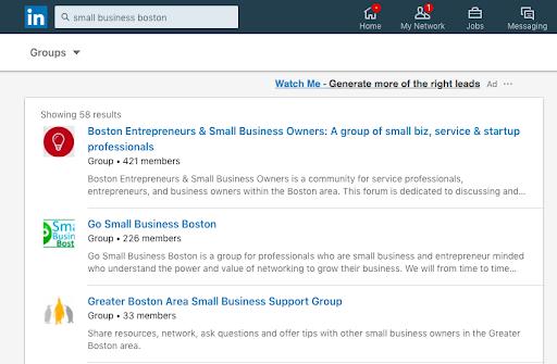 """Búsqueda en Linkedin por Grupos, por ejemplo, """"Pequeñas empresas Madrid"""""""