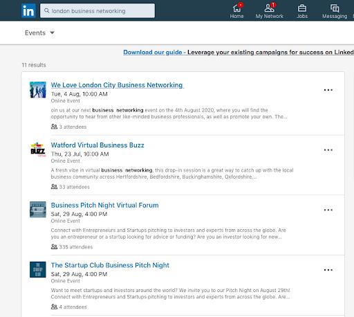 """Búsqueda en LinkedIn por Eventos, por ejemplo, """"Eventos para hacer contactos empresariales Madrid"""""""