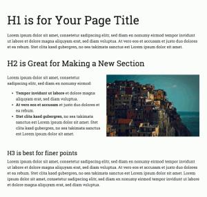 Ejemplo de cómo usar títulos para estructurar el contenido de la página y hacerla más fácil de leer.