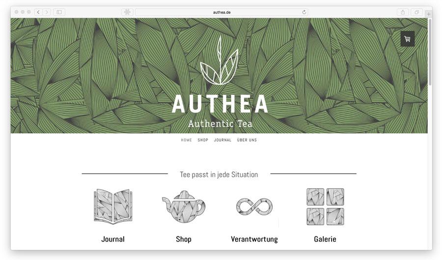 Ejemplo de combinación de tonalidades verdes en una tienda online.