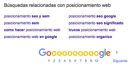 La opción de búsquedas relacionadas de Google es una fuente de ideas para palabras clave.